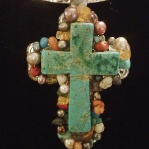 Distressed Turquoise Cross Choker